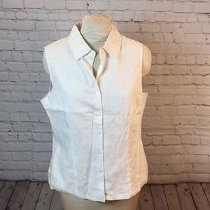 NWT George lined linen blouse w pretty top stitch